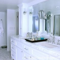 White Marble Countertops with White Cabinets, Traditional, bathroom, Classic Casual Home