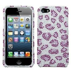 Amazon.com: LEOPARD Clear & Purple Crystal, Rhinestone Iphone 5 2 Piece Snap on Back Cover Case by Jersey Bling: Cell Phones & Accessories