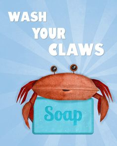 Wash Your Hands Print Cute Crab Art For by thedreamygiraffe, $18.00