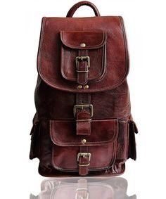 c3c378507382 Zebella Unisex Vintage PU Leather Backpack Laptop School ...