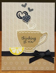 I just love this stamp set and die set so much!  And the Party Pants set fits nicely within the cups!  The Lemon was a last minute addition to add color.  I think it makes the card more complete and brings the look together!  There is a little Wink of Stella on the lemon wedge. TFL!