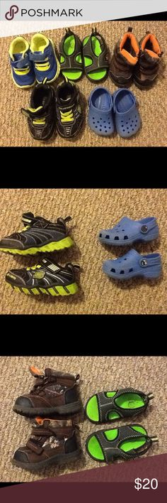 Infant shoe lot! 5 pairs! Size 3 to 5 Bundled infant shoes! All are in good condition. Size 2/3 blue authentic crocs. sketchers light up sneakers size 5. Blue and lime garanimals tennis shoes size 4. Size 3 hunting camo and orange boots with Velcro. Size 4 slip on grey and lime sandals. Feel free to ask questions! Because of weight restrictions I can't bundle these with anything else...sorry! CROCS Shoes
