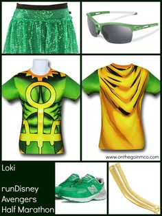Loki running costume ideas - superheroesstuff.com, Sparkle Athletic, Oakley, and New Balance