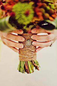 beach wedding bouquet wrap