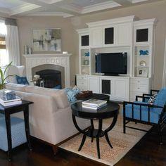 Family Room corner fireplace Design Ideas,