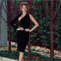 One Shoulder Knee Length Black Bodycon Dress - Bestial Moda One Sleeve Dress, Dresses With Sleeves, Midi Dresses, Long Sleeve, Fabulous Dresses, Elegant Dresses, Formal Dresses Near Me, One Shoulder, Shoulder Dress