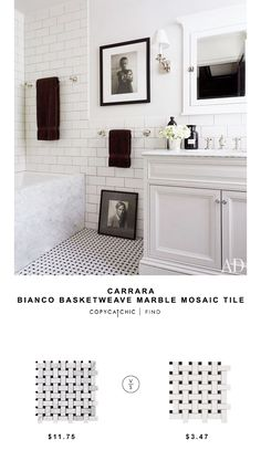 Carrara Bianco Basketweave Marble Mosaic Tile for USD against Roca CC Mosaics Basketweave Glaz Carrara Marble Bathroom, White Marble Bathrooms, Bathroom Red, Marble Mosaic, Bathroom Floor Tiles, Mosaic Tiles, Master Bathroom, Black Vanity Bathroom, Bathroom Countertops