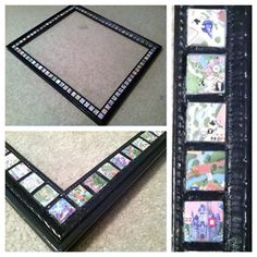 Mosaic tile on a frame and then used modge podge to glue the pieces of the disney maps on to the tile.