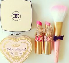 ▫️too faced sweethearts perfect flush blush in candy glow-$30.00 ▫️yves saint Laurent rouge volupte silky sensual radiant lipstick SPF 15 in vibrant pink and lingerie pink-$35.00 ▫️Chanel les beiges