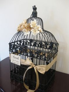 Black Wedding Card Box / Champagne / by SouthburyTreasures on Etsy, $62.00- Of course without the bow