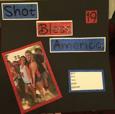 21st birthday America themed shot book page