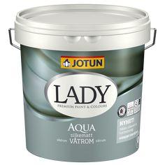 Jotun LADY Interiør Finish til træ vægge og loft liter Jotun Lady, Aqua, Wonderwall, Dark Wood, Coffee Cans, Paint Colors, New Homes, Colours, Pure Products