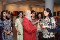 Artist Shuvaprasanna at the exhibition
