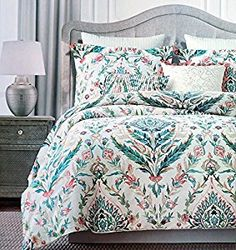 Amazon.com: Tahari Floral Folklore Watercolor Duvet Cover 3 Piece Bedding Set Slubbed Cotton Damask Porcelain Pattern Full Queen or King Size Boho Style Sage Teal Coral Medallion on Cream (Queen): Home & Kitchen