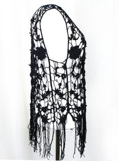 Ouida Black Crochet Fringe Tank Top