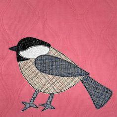 black-capped chickadee applique pattern Applique Quilt Patterns, Bird Patterns, Applique Designs, List Of Fabrics, Bird Template, Different Birds, Bird Quilt, Quilt As You Go, Twin Quilt