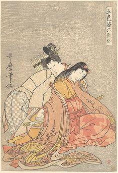 The Poet Ariwara no Narihira (825–880) Courting a Woman  Kitagawa Utamaro  (Japanese, 1753–1806)  Period: Edo period (1615–1868) Date: ca. 1805 Culture: Japan Medium: Polychrome woodblock print; ink and color on paper
