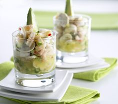 Sieni-katkarapu-ceviche Ceviche, Potato Salad, Potatoes, Ethnic Recipes, Food, Eten, Potato, Meals, Diet