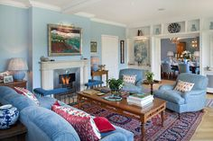 Light Blue Family Room Design Ideas, Pictures, Remodel and Decor Duck Egg Blue Living Room, Blue Living Room Decor, Cottage Living Rooms, Rugs In Living Room, Living Room Designs, Living Room Ideas Oriental Rug, Living Room Ideas Light Blue, Blue Living Room Furniture, Room Rugs
