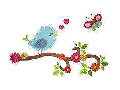 18x13 Stickdatei Owls in Spring 2 Bird on Branch 1 von kindundkegel-shop auf DaWanda.com