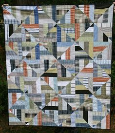 Scrappy Shirt Quilt Top | Men's Shirt and Clothing Memory Quilts ... : quilting for men - Adamdwight.com