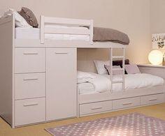 Kinderbett mit stauraum hochbett treppen schubladen wei es for Weisses jugendzimmer