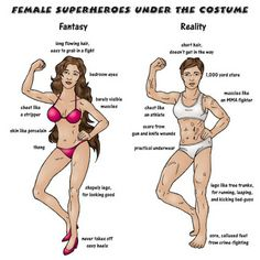 """Superhero Week: The naked truth underneath female superhero costumes"" Obviously not every superhero is cut from the same clothe but let's be realistic. Wattpad, Superhero Costumes Female, Superhero Cosplay, Funny Girl Quotes, Funny Memes, Super Hero Costumes, Girl Humor, Reality Check, Funny People"