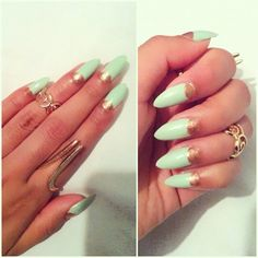 Mint + Gold Nails. I need my nails to be that pointy