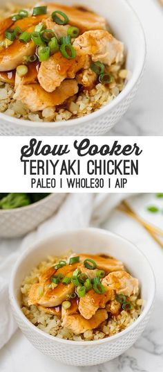 This slow cooker chicken teriyaki makes dinner easy! Serve it with some veggie sides and you have a flavorful meal. Its made without soy sauce and is paleo AIP and compliant. - Slow Cooker - Ideas of Slow Cooker Beef Stew Crockpot Easy, Paleo Crockpot Recipes, Slow Cooker Chicken, Slow Cooker Recipes, Paleo Crockpot Chicken, Crockpot Meals, Dinner Crockpot, Cooking Recipes, Freezer Meals