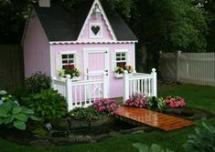 We love receiving pictures of porches from readers. They share all types of porches: country porches, wrap around porches, small porches, spacious porches. Thank you for sharing your porch pictures with us! Pictures Of Porches, Pink Playhouse, Porch Railing Designs, Small Porches, I Believe In Pink, Pink Garden, Play Houses, Diy For Kids, Front Porch