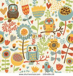 Cute Colorful Floral Seamless Pattern With Owl And Bird Stock Vector 108488438 : Shutterstock