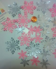 Snowflake Confetti Pink and Gray Snowflake by PartySurprise