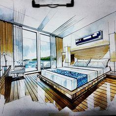 Interior Design Portfolios, Interior Design Sketches, Room Interior Design, Perspective Room, Perspective Sketch, Drawing Interior, Interior Rendering, Small House Design, Home Design Plans