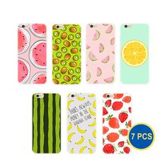 Gadget.Cool Fruit Patterns Cases for iPhone 6/6S - Pack of 7, Everyday Case, Ultra Think, Cute Fruit, Dust Cover, Soft Silicon (7 Fruits). 7 different cute fruits for you to change your iPhone style everyday. Help you look super special, using cute fruit