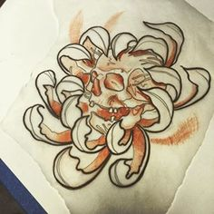 skull tattoo chrysanthemum - Google Search