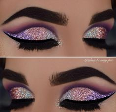 50 Eye Makeup Ideas This make-up would fit in with a long dress to land in a similar shades for an outstanding entertainment. Purple color to brown – haired ladies stands perfectly. - Das schönste Make-up Glitter Makeup, Prom Makeup, Cute Makeup, Pretty Makeup, Eyeshadow Makeup, Hair Makeup, Glitter Eyeshadow, Eyeshadows, Eyeshadow Palette
