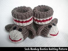 Sock Monkey Baby Booties Knitting Pattern - this isn't crochet, and I don't know how to knit, but too cute not to pin! Baby Booties Knitting Pattern, Knit Baby Booties, Baby Knitting Patterns, Baby Patterns, Crochet Patterns, Knitted Baby Socks, Doll Patterns, Knit Slippers, Booties Crochet