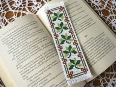 Cross stitch bookmark  Clovers embroidery bookmark by MariAnnieArt