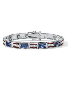 """Show your country you care - by wearing this gorgeous red, white and blue enamel and crystal tennis bracelet. Display your patriotism with pride and style. 7 1/4"""" length. Silvertone metal. lanebryant.com @Lane Bryant"""