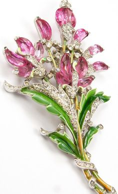 Pink and Green Floral Bouquet Brooch