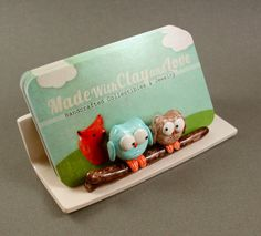 Hand Sculpted Business Card Holder - Little Owls In Blue And Mocha by MadeWithClayAndLove