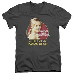 VERONICA MARS/PERSNICKETIER-S/S ADULT V-NECK 30/1-CHARCOAL