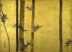 """""""Bamboo and Plum Tree,"""" (""""Chikubai Zu,"""" 竹梅図)) left panel Japanese Painting, Chinese Painting, Chinese Art, Vision Of Love, Spiritual Dimensions, Feuille D'or, Japanese Screen, Gold Leaf Art, Bio Art"""