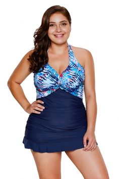 ce00644825 8.74 Palm Tree and Sea Print Ruffle Hem 2pcs Tankini Swimsuit Plus Size  Swimsuits