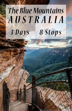 The Blue Mountains, NSW, Australia. 3 days, 8 stops, including great hikes, lookouts, places to eat, free camping, waterfalls, aboriginal cave painting, art, high tea and more.