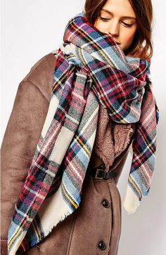 Shop ASOS Oversized Square Scarf In Check. With a variety of delivery, payment and return options available, shopping with ASOS is easy and secure. Shop with ASOS today. Asos, Mode Lookbook, Plaid Blanket Scarf, Cozy Scarf, Tartan Scarf, Blanket Shawl, Checked Scarf, Fall Scarves, Woven Scarves