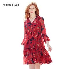 Weyes & Kelf Spring Print Floral Dress Seven Printing Chiffon Beach Ladies Dress For Summer Flare Sleeve V neck Party Dresses-in Dresses from Women's Clothing & Accessories on Aliexpress.com | Alibaba Group