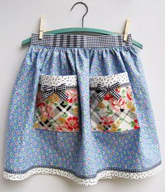 Half Apron made with vintage fabric -- geometric blue print & large diagonal floral