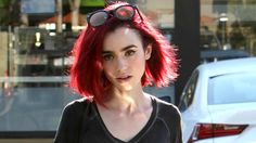 Lily Collins Debuts New Bright Red Hair! | Lily Collins : Just Jared