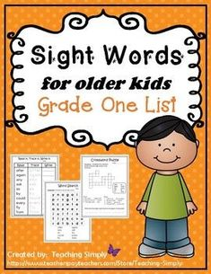 If you are looking for a sight word product that has an older kid look to it, here is the product for you! Most of the sight word products are geared to very young children, but some of the older students still need help reading and spelling the words.